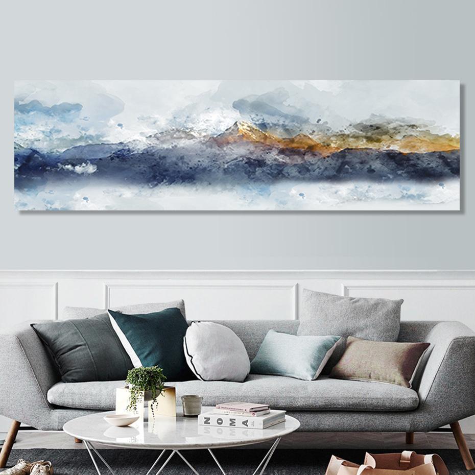 Longue Paysage Abstrait Montagne Canapé arrière-plan Peintures sur toile d'affiche Wall Art Photos Salon Home Decor NO FRAME