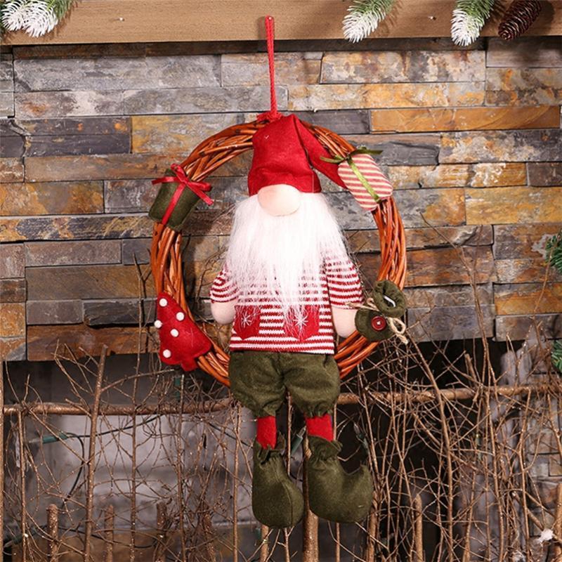 Noel Baba Kardan Adam Noel çelenk doğum Çelenk adornos de navidad pencere süsleri ev için yılbaşı süslemeleri Asma