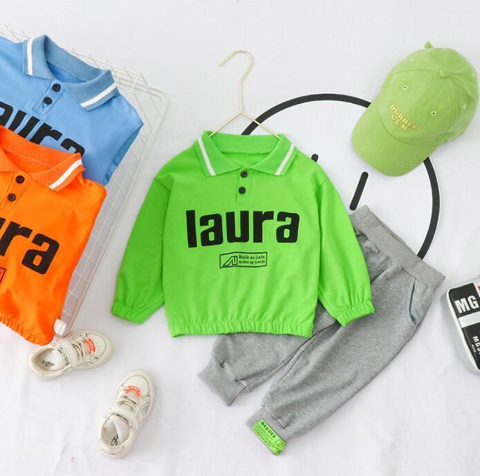 Весна и осенью 2020 новых детьми сплошного цвета письмо нагрудного длинного рукава мальчиков спортивного досуг свитера футболка набор оптом