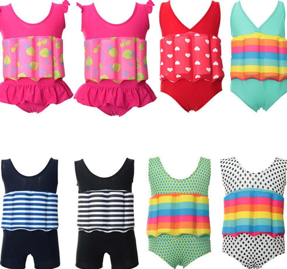 جميل أطفال تعويم بدلة قطعة واحدة مع قابل للتعديل الطفو الملتصقة ملابس السباحة رومبير شاطئ الاستحمام والسباحة الصيفية BODYSUIT
