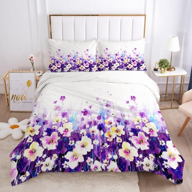 3D пододеяльник Комплекты Пододеяльники Наволочка Одеяло Shell Постельное Белье Полный номер двойной простой цветок домашний текстиль