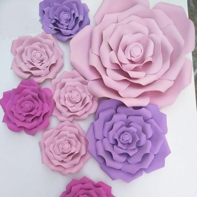 13/26 Heads Künstliche Blumen Hochzeit Startseite Fake Flowers Dekoration handgemachte Rosen-Papier-Blumen-Hintergrund Fenstergestaltung ZJH001