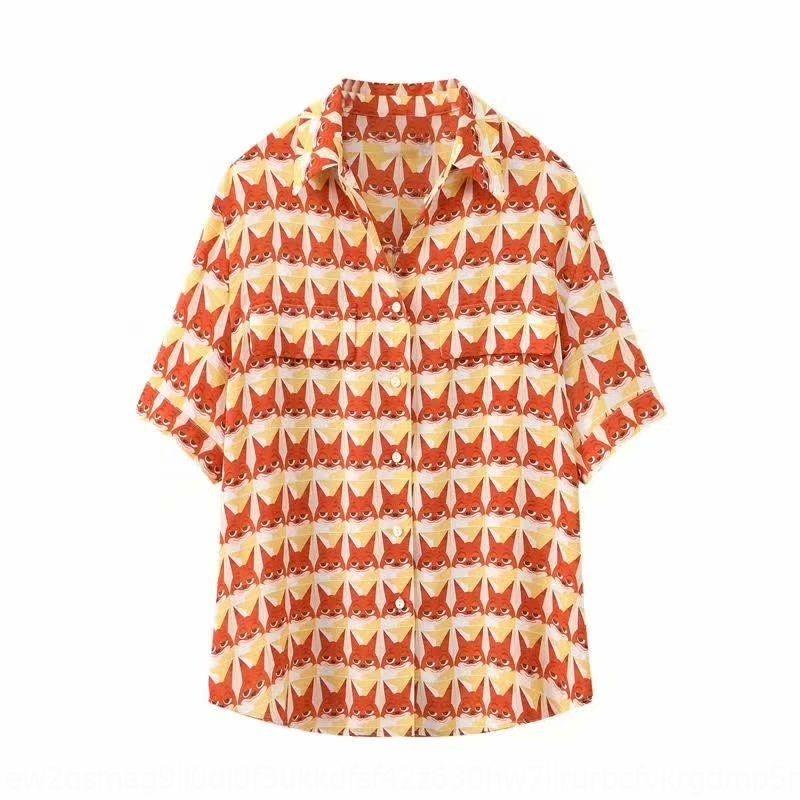 2020 Frauen neue Nifty vollen Druck Fox Shirt Kurzarm-Shirt Damenmode 1B4521141