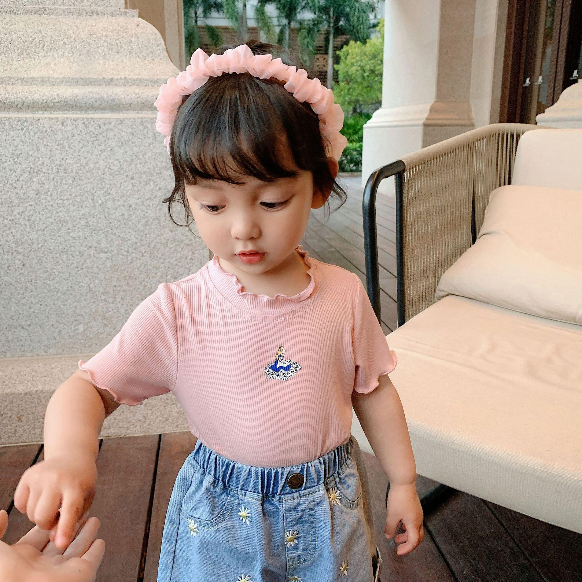 Chen Dazhu girl's Coat T-shirt top comfortable and simple slim T-shirt new baby girl's ribbed pit top