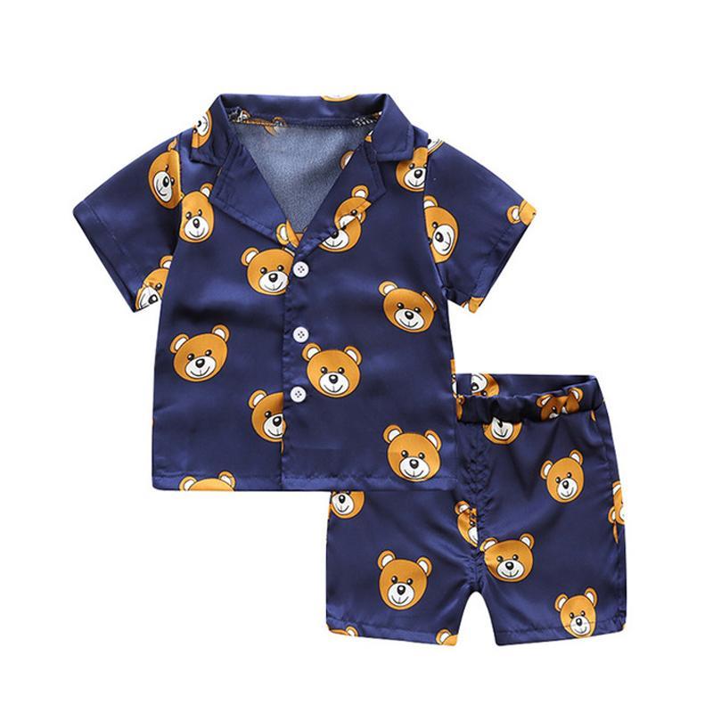 Manga corta Blusa Infantil Tops + Shorts dormir pijamas de los niños ropa de bebé pijama Niño Niña de dibujos animados impresión de los ciervos Trajes Set Designer11