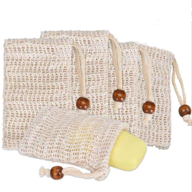 비누 엑스 폴리 에이 팅 가방 거품을위한 졸라 매는 끈 천연 모시 비누 가방 메쉬 및 건조 비누 LX2473