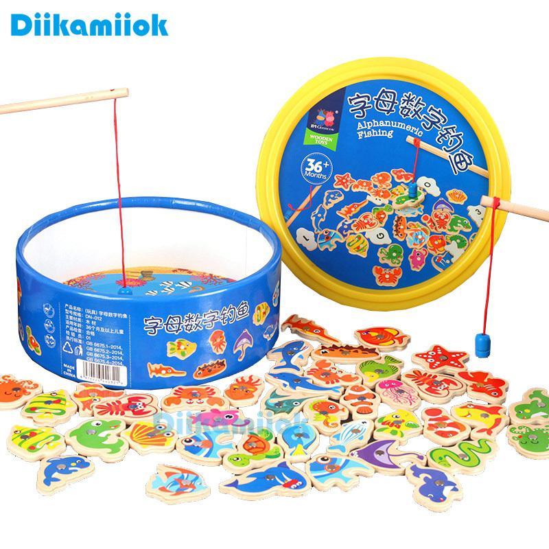 New Hot 41pcs Peixe Pesca Wooden Toy Magnetic bebê alfabeto digitais brinquedos educativos para crianças Jogo de Puzzle Outdoor Play Set T200801
