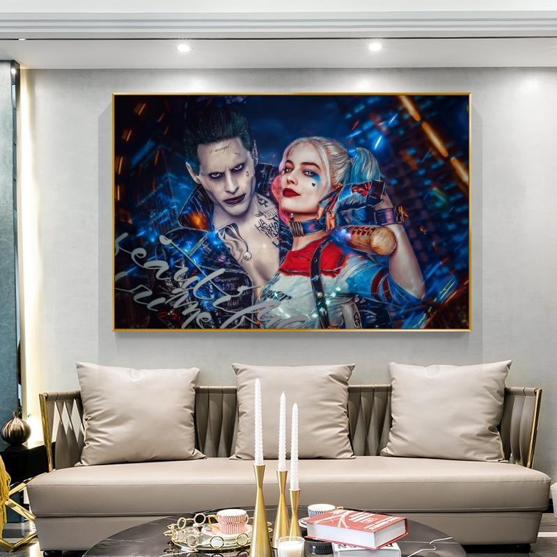 Comic grandes carteles Harley Quinn Canvas Print Pintura X Equipo Joker Poster Arte de pared Cuadros Cuadro para la decoración de la sala