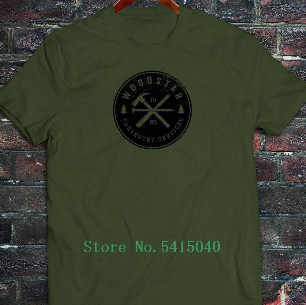 2019 legno modo caldo di estate della stella Carpenteria Falegname legname Martello Chiodo Mens militare Green T-Shirt T Shirt