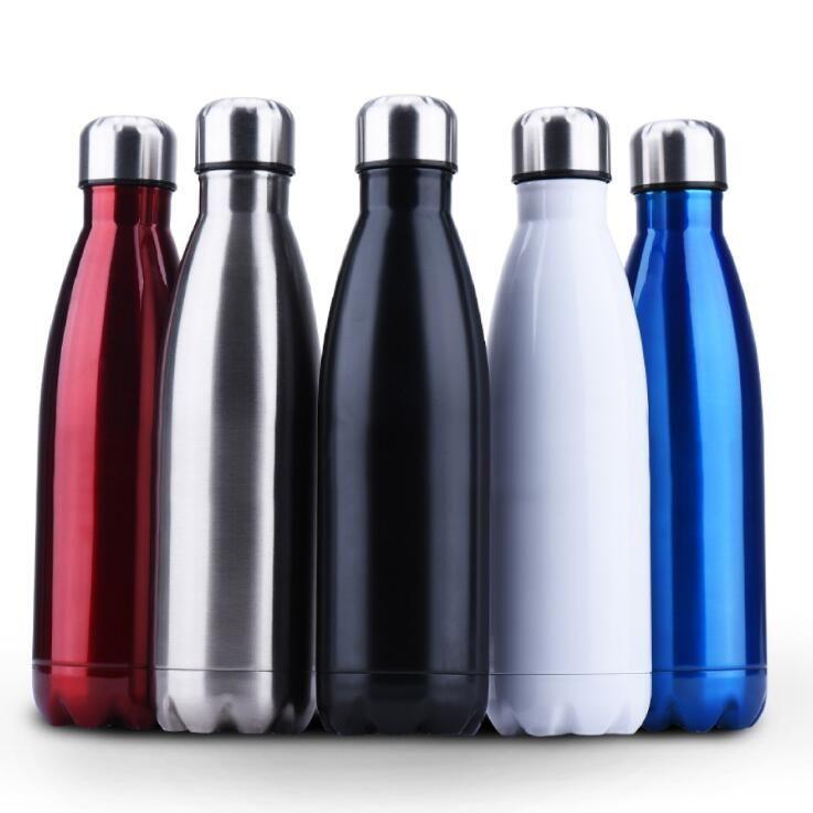 Bouteille de chaleur Sublimation Tasses Bouteille d'eau en acier inoxydable Cola en forme de double paroi isolé Flask vide Voyage Tasse Bouteilles d'eau DWD525