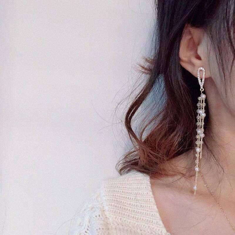2020 2020 pendientes para los pendientes del regalo de las mujeres de la perla de la borla de oro Muchachas de la manera atractiva del encanto de la CZ gota cuelgan LWhH la vendimia #