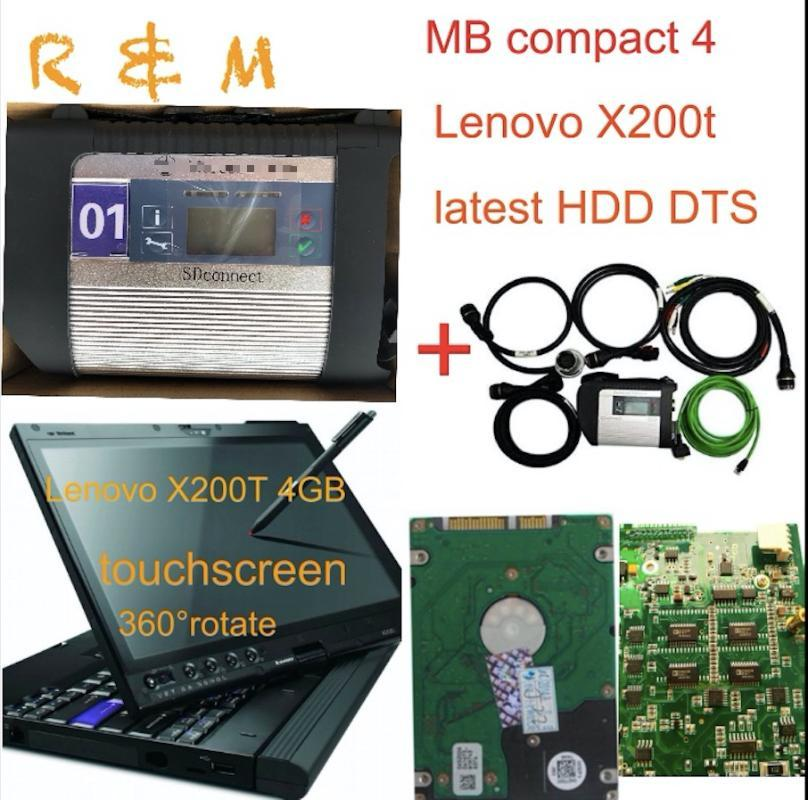 MB Star C4 compact 4 sd connect star diagnosis c4 cables software hdd vediamo dts and Lenovo X200T 4GB touchscreen rotate laptop