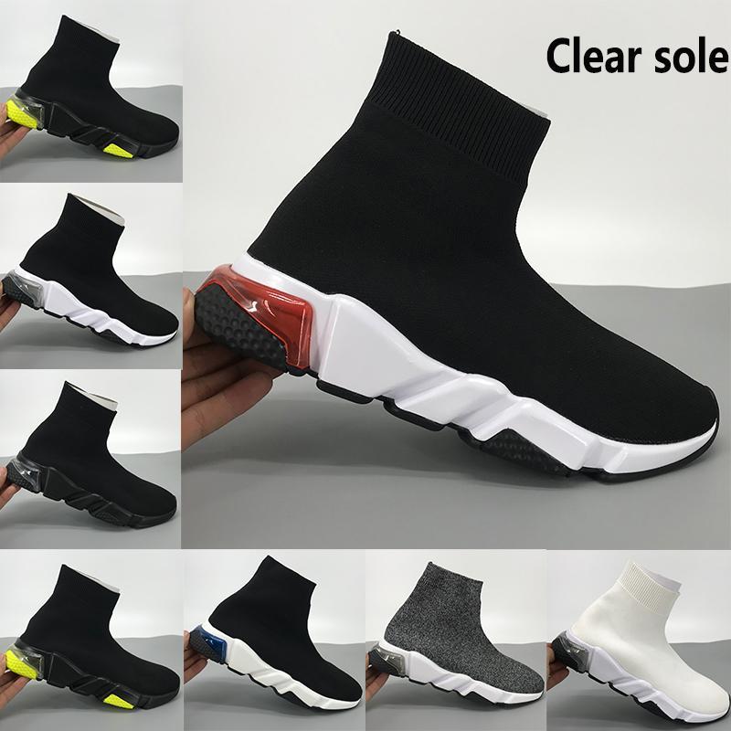 NEW Geschwindigkeit Trainer klar Sohle Socke Schuhe triple schwarz weiß gelb Fluo oreo rosa Männer Frauen beiläufige Turnschuhe US 6-11