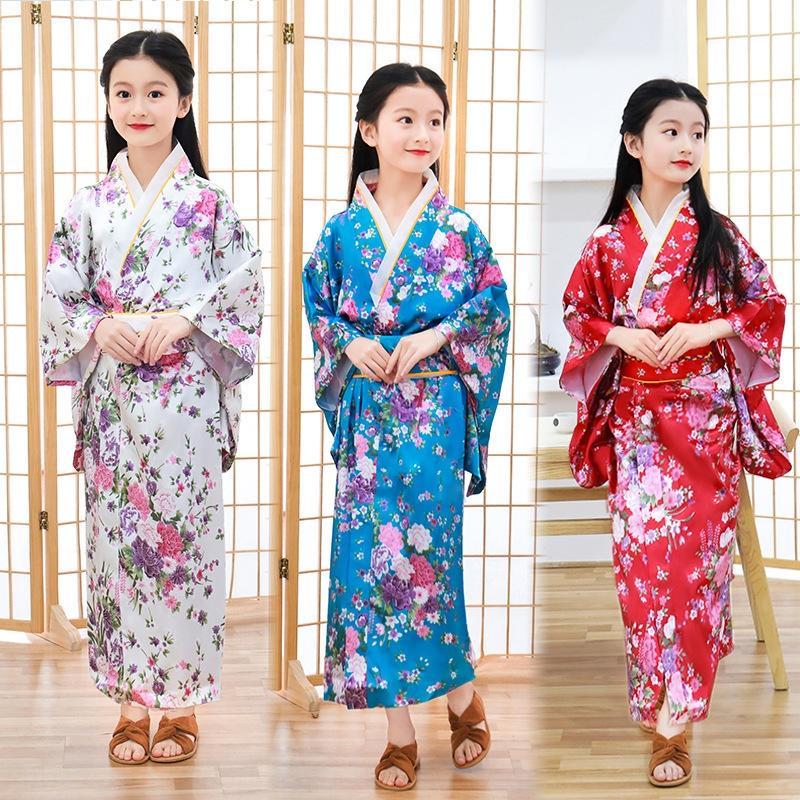 PCrRU Novas meninas Pijama 'kimono robe japonês melhorou kimono cardigan pijama terno floral impresso tradicional