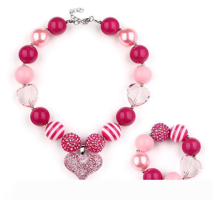 Ювелирные наборы акрилового ожерелья браслет Дети DIY ручной работа из бисера Большого Choker ожерелья для девочек Бесплатной доставки
