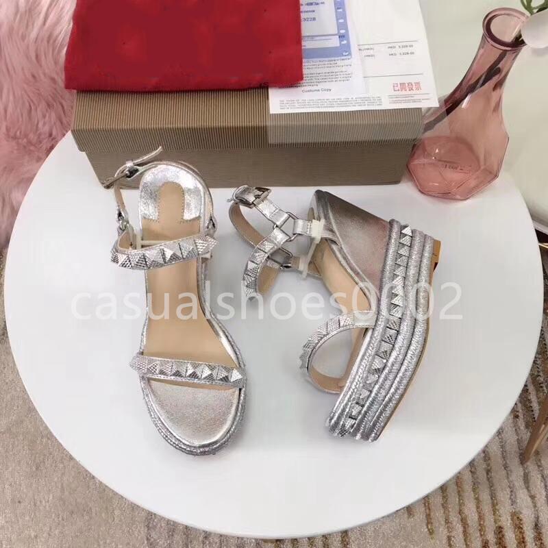 Novo design 2019 luxo elegantes saltos sola-vermelho para o partido iridescência sandálias de casamento das senhoras tamanho 34-41 V02