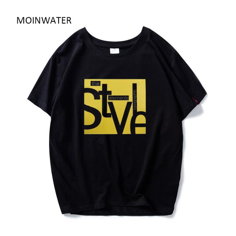 Kadınlar Lady Casual High Street Tees Kadın Yaz Kısa Kollu için MOINWATER Yeni Moda Desen% 100 Pamuklu T shirt MT1939 Tops