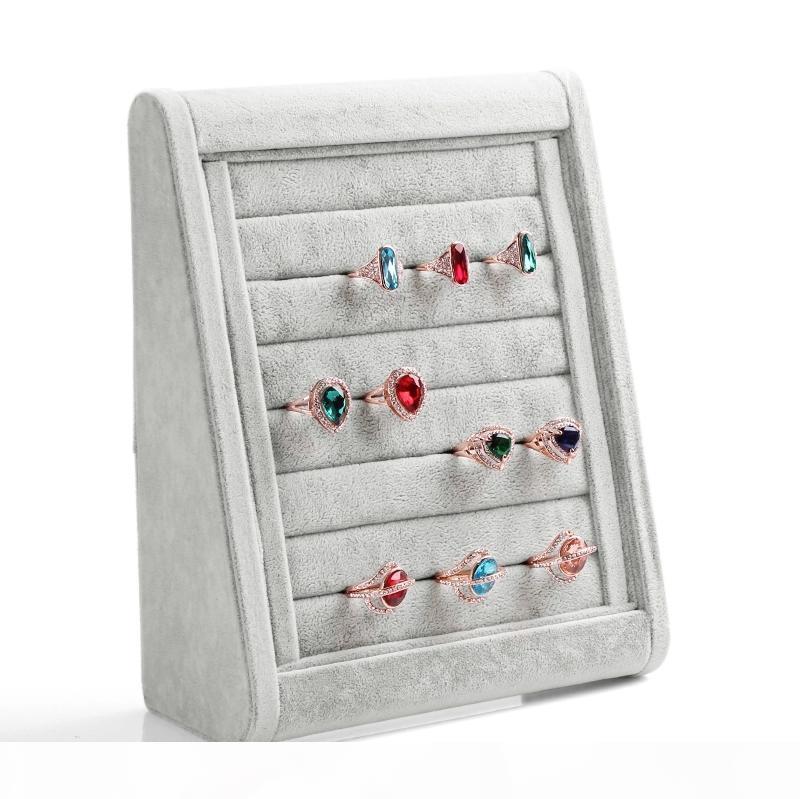 High-end Grey Wood Velvet Anello Orecchini mobile Dust Plugs Gioielli Display Stand bagagli vassoio del supporto Treppiede design