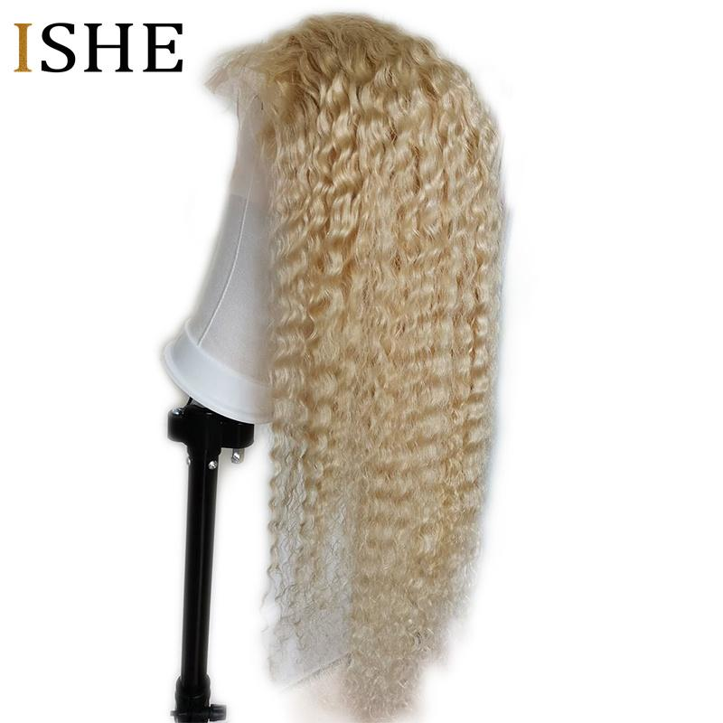 Honey Blonde 613 Curly Wig 360 Lace Frontal Wigs 13x6 HD Transparent Lace Front Human Hair Wig Preplucked No Remy For Women ISHE