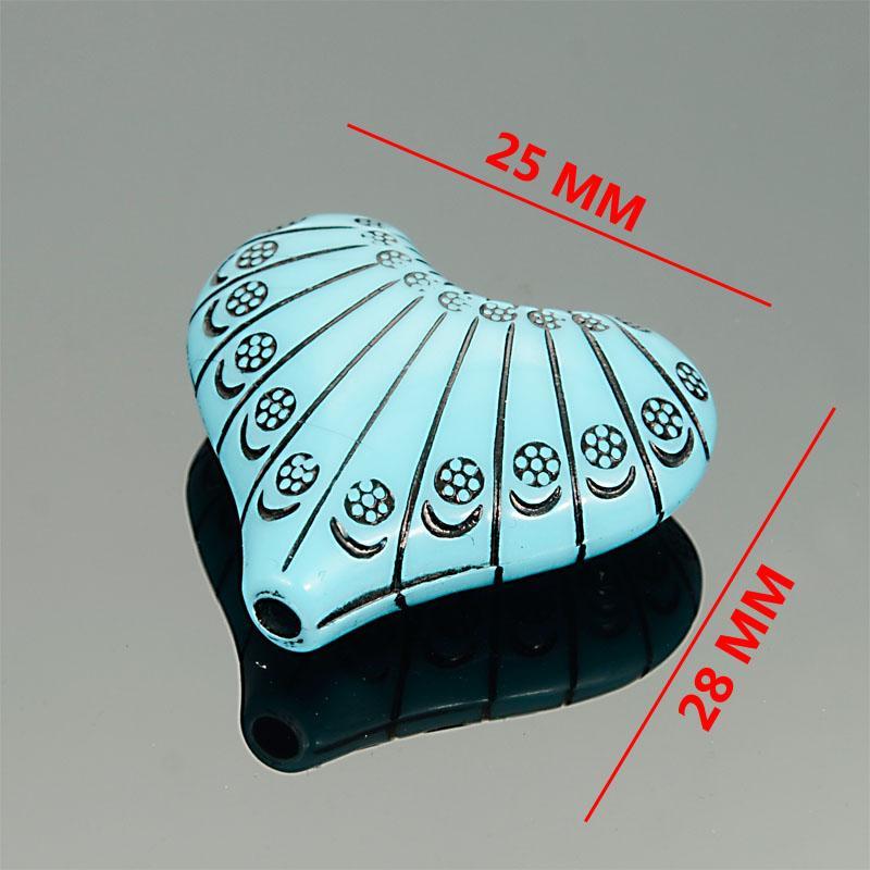 Miasol 10 PC / Los Acryl-Streifen-Herz-Antike-Art Design Spacer lose Korn-Charme für Diy Schmuckherstellung Zubehör