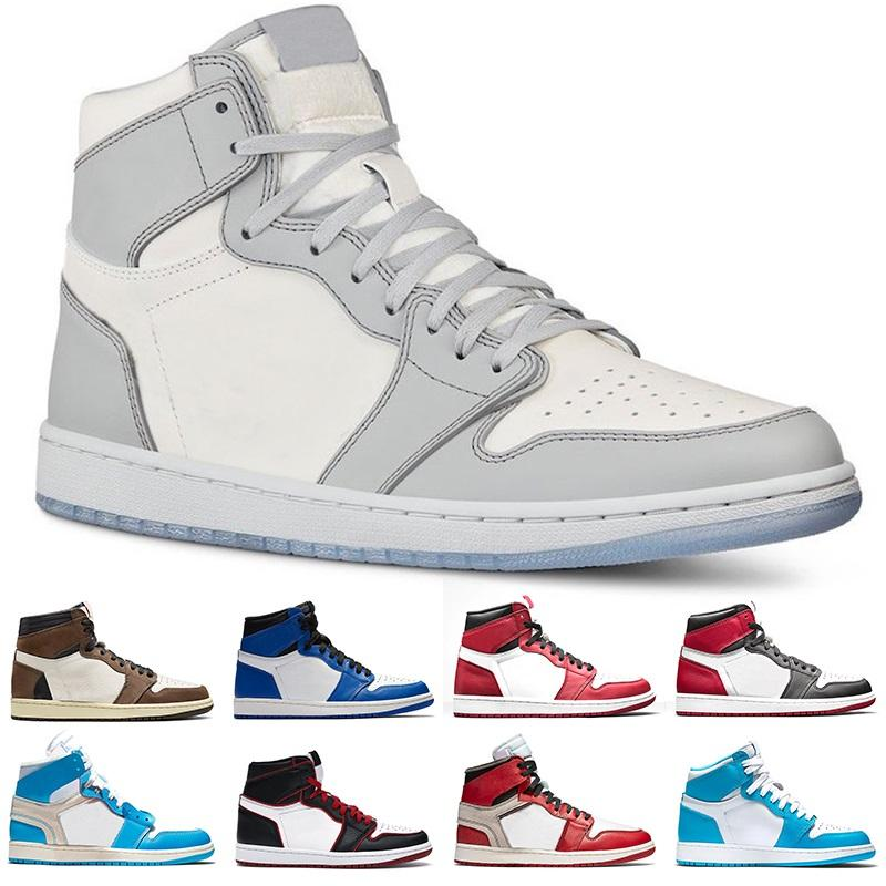 cheap basketball shoes 1s men women 1 Mens Trainers Cactus Jack Game Royal UNC Bloodline fashion trainer Sports Sneakers Size 36-46