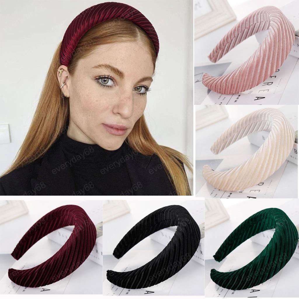 Muticolor imbottito Fasce Velvet fascia Puffy spugna spessa Fasce Vintage fascia larga per le donne capelli Hairbands gioielli
