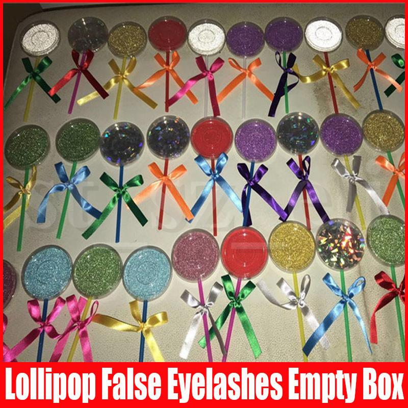 Lollipop Shape Lashes Package Box 3D Mink Eyelashes Boxes Fake False Eyelashes Packaging Case Empty Shimmer Eyelash Box Packaging