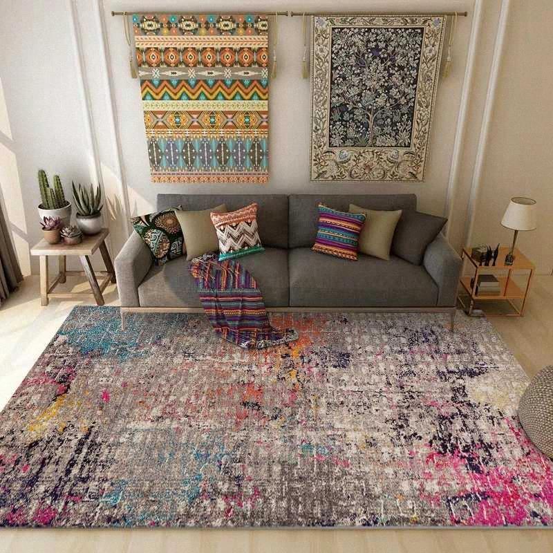 Sala de alfombras y alfombras creativo colorido retro del dormitorio geométrica de los niños de noche Alfombras Pasillo Cocina antideslizante estera del piso t5LT #