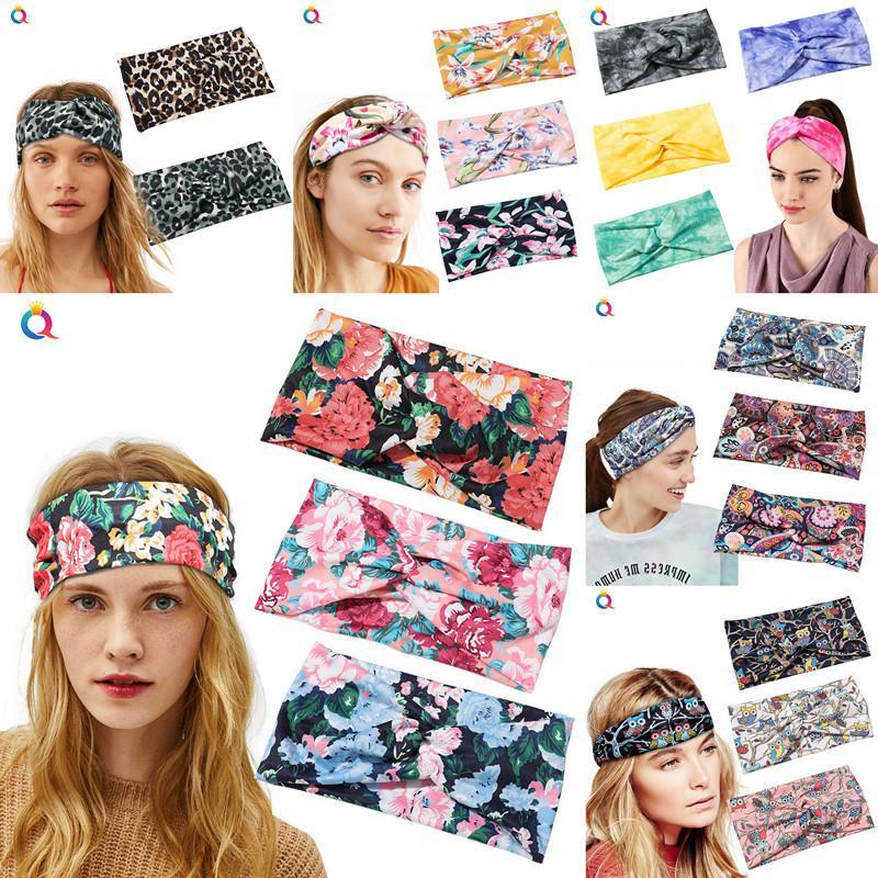 Flor amplia leopardo de la cinta Ampliación de Yoga Hairband Dance Sport motorista diadema capucha elástica para mujeres de la muchacha búho Impreso abrigo de la cabeza DHC273