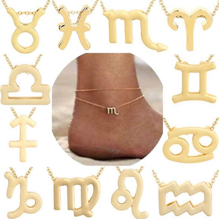 Constellation Anklets Sign Zodiac Segno zodiacale Oroscopo Gioielli Astrologia Astrologia Regalo di compleanno con carta messaggio per le donne, tendenza All-match for g