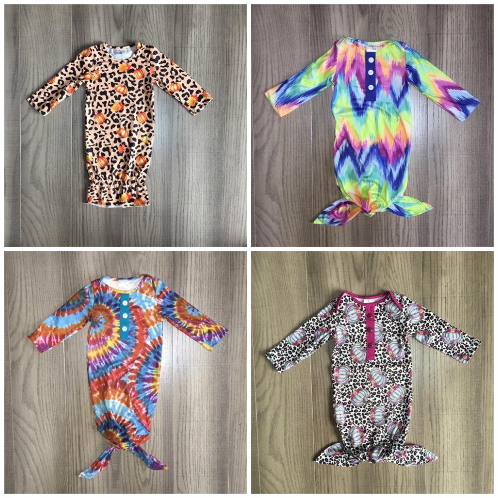 Girlymax recém-nascido vestido bebê meninas boutique roupas infantil roupas de nightgown torres de algodão romper laço de manga longa tingido abóbora tingido