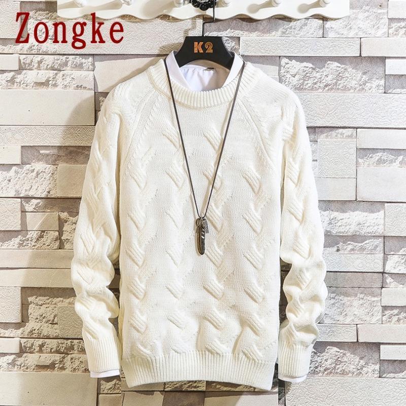 Zongke Сплошной вязаный свитер мужской одежды Прицепные Свитера Зимние мужские Одежда Пуловер мужские пальто 2020 осень зима новый M-2XL