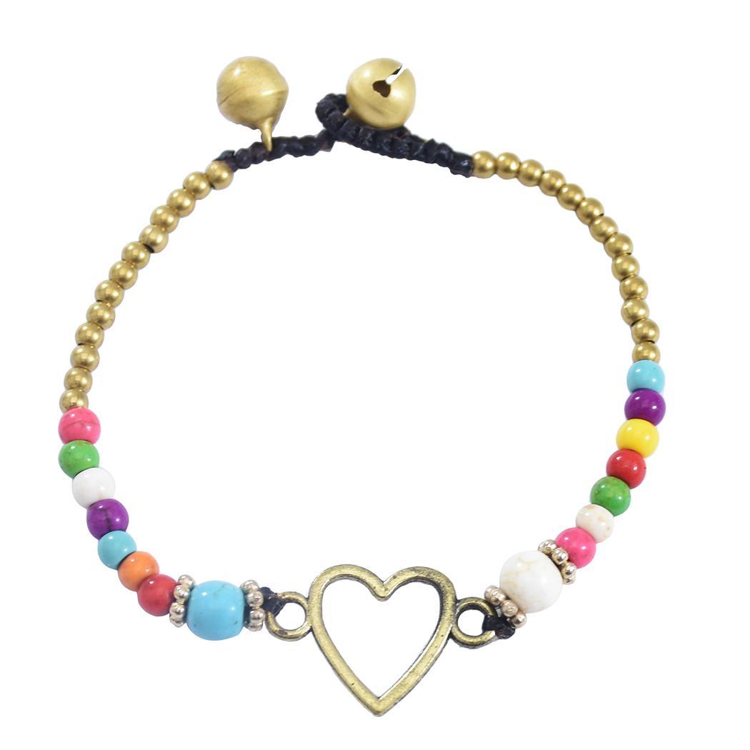 3 Style Boho Braccialetto Braccialetto Star Love Heart Charms Lega Imitazione Pietra Pietra Braccialetto per le donne