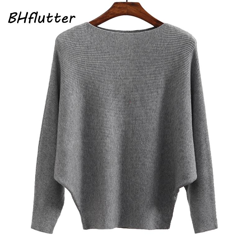 BHflutter Sweater Mulheres Slash pescoço malha blusas de inverno Tops Feminino Batwing Cashmere Casual Pull Pullovers Jumper Femme 2019 Y200722