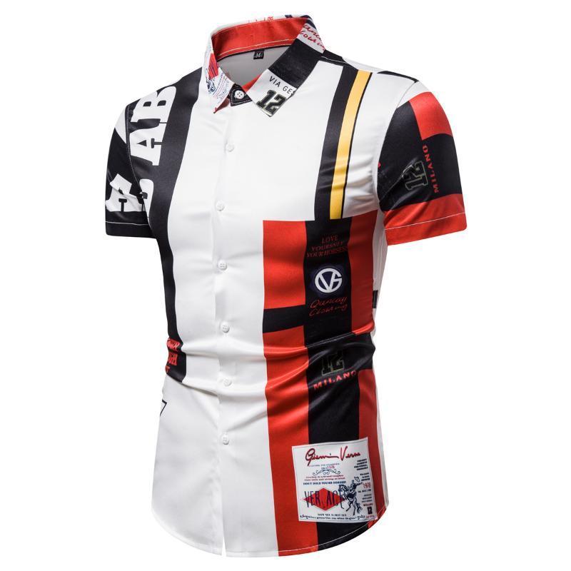 Camisa de los hombres ocasionales de impresión de la letra de la solapa de manga corta Top Male Europea y Americana simple del estilo delgado de la blusa del verano nuevos 2020