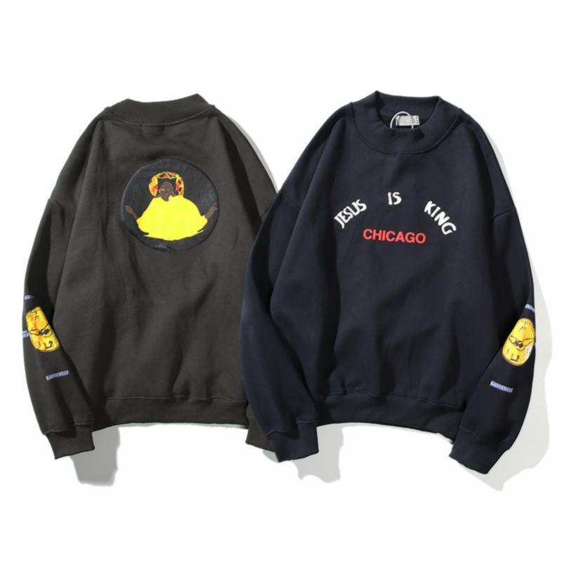 2020 европейских и американского тренд весна нового Kanye West Иисус король Чикаго ограниченного пуловер свитер плюс бархат размера M-XXL