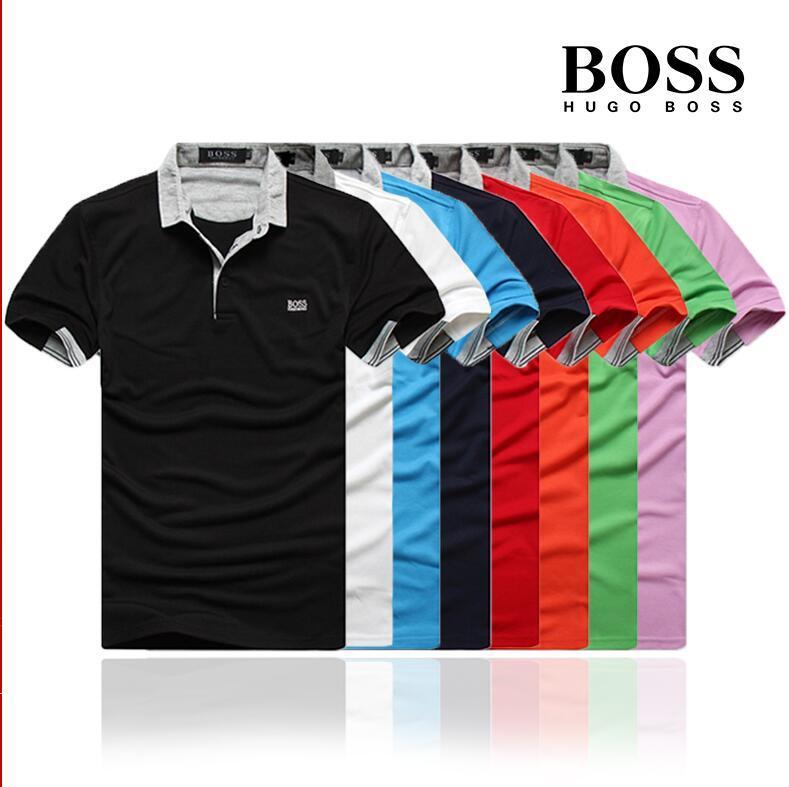 Mens summer polo t shirt fashion Embroidery Shirt Short Sleeves Tops Turn-down Collar Polo Clothing Male Fashion Casual Polo BȮSS