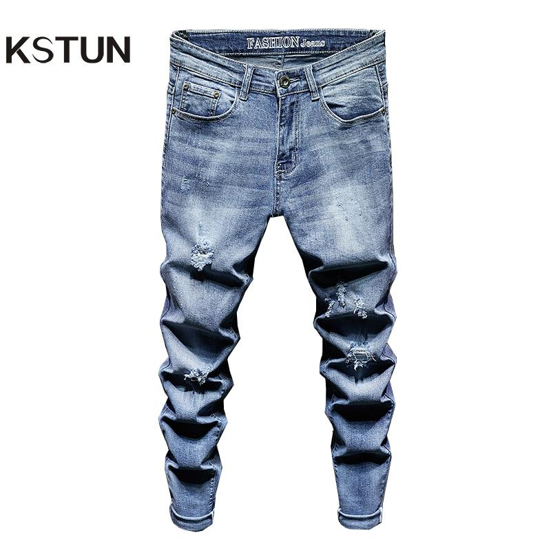 Mens zerrissene Jeans-Slim Fit Light Blue Stretch Fashion High Street Jeans im Used ausgefranst Hip Hop Männer beiläufige Jeanshosen