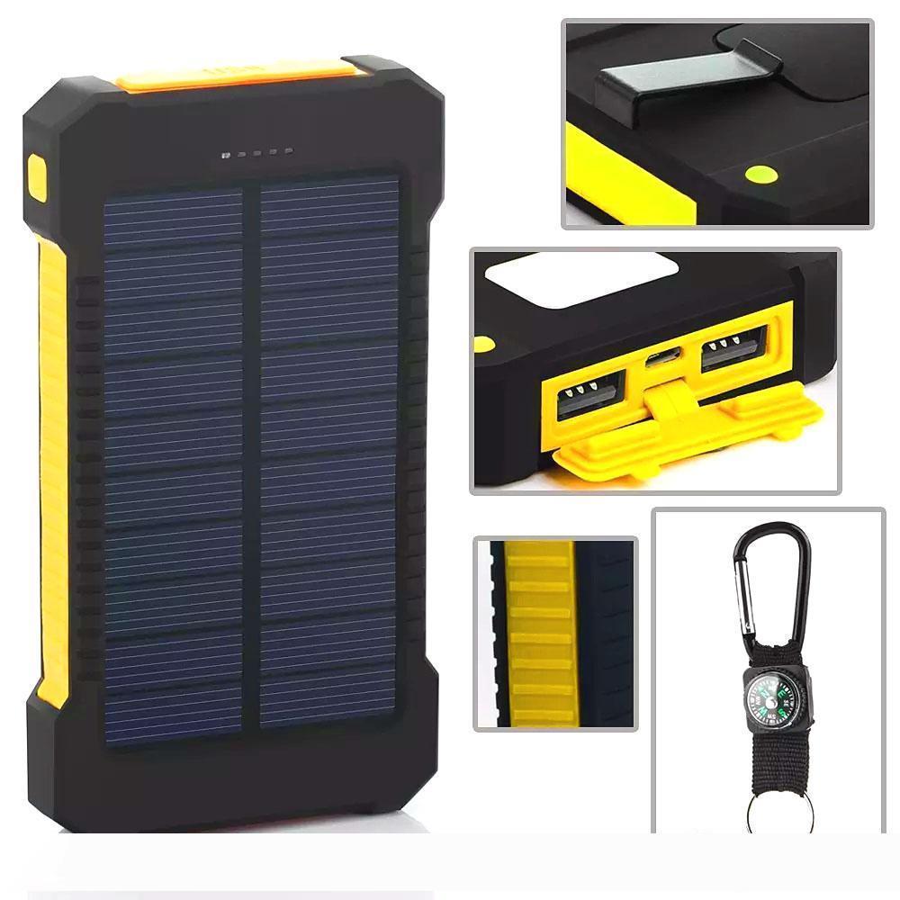 Iphone 8 Solar Power Bank Bank USB double alimentation 20000mAh Chargeur externe portable Batterie Bateria Périphé Pack pour téléphone portable