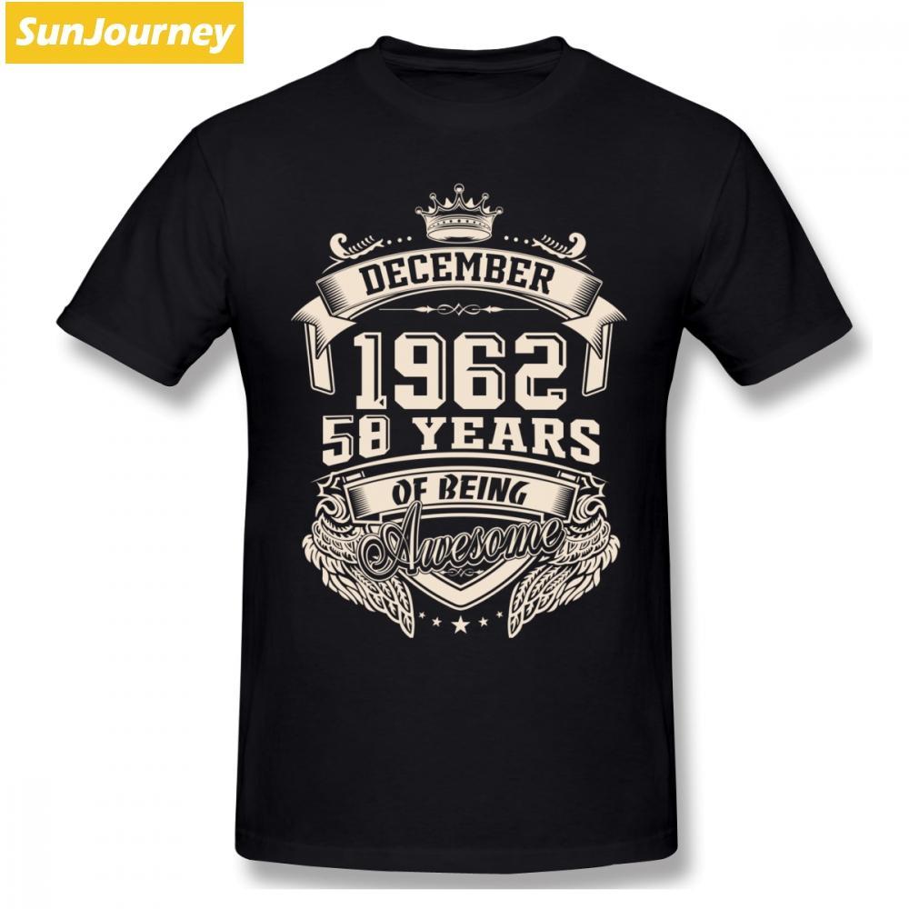 Nascido em dezembro de 1962 58 anos de ser impressionante Homens T shirt Plus Size Cotton Crewneck camiseta manga curta Men