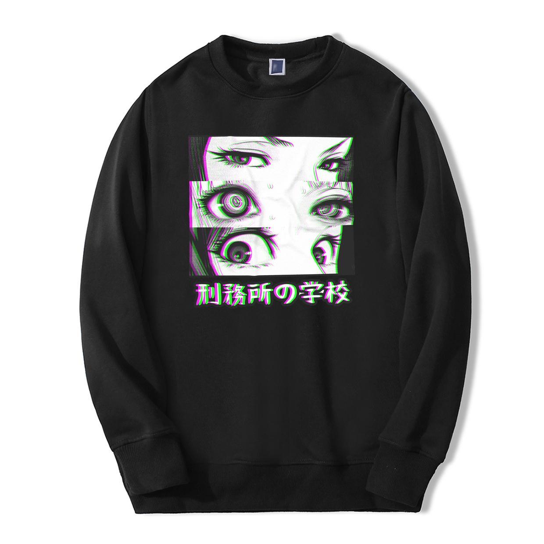 Anime del Giappone Prison School occhi tristi Uomini Felpa con cappuccio 2019 Primavera Inverno caldo di vendita casuale Loose Fit Hip Hop Fashoin Pullover CX200723