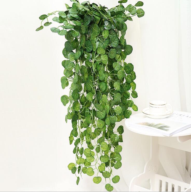 Искусственная листва плюща Зеленые листья поддельные подвесные эмалационные цветочные лозы растения ротанга свадьба партия садовый декор настенный поставку DHD327