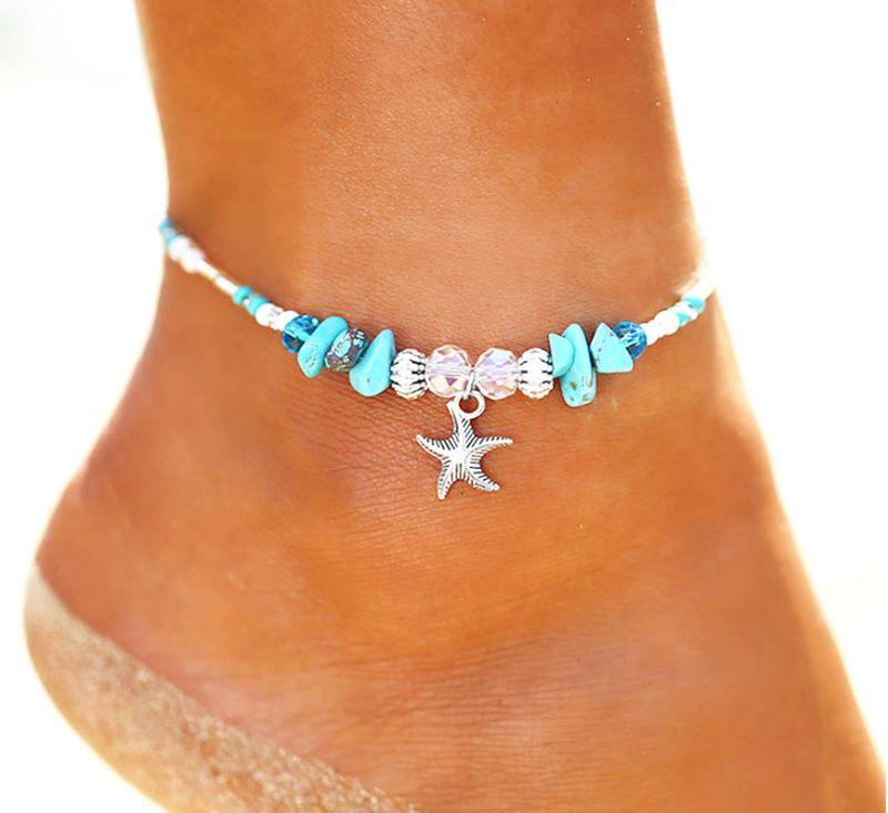 Bohemian senhoras tornozeleira estilo charme praia perna artesanal jóias pulseira