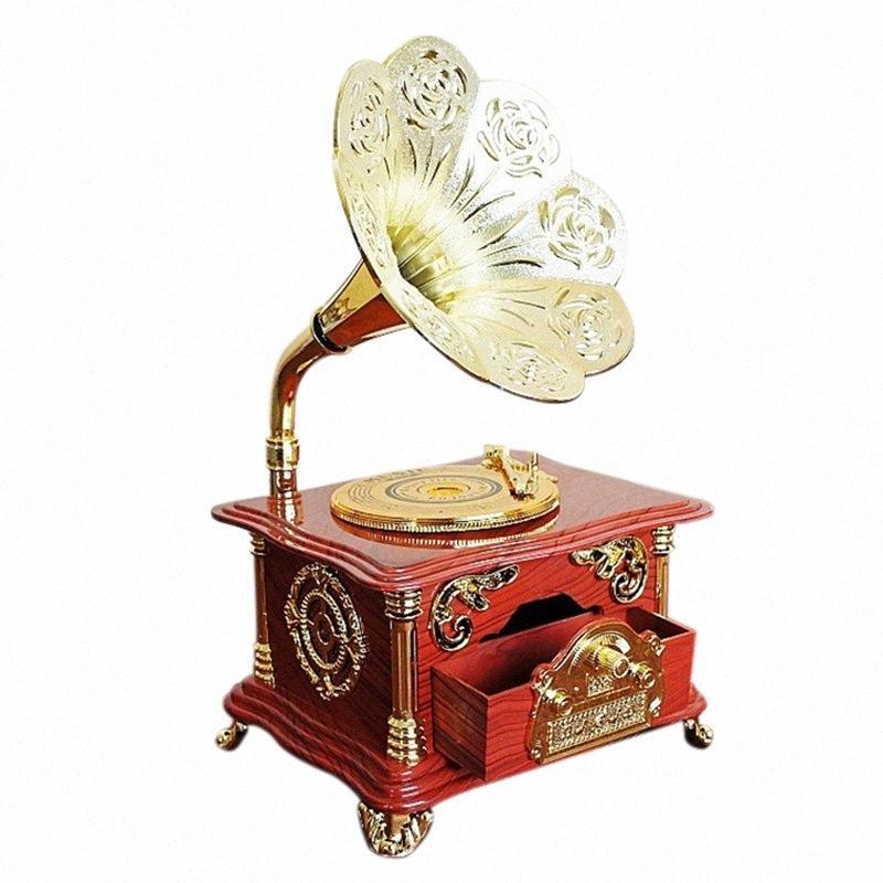 Criativa fonógrafo música jóias caixa de presente de Natal da música Retro Artesanato de mobiliário artigos Home Decor Acessórios eq9w #