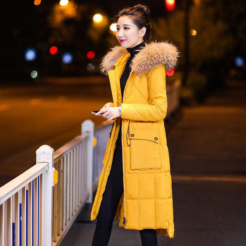 Los bolsillos de abrigo de invierno chaqueta abajo Nueva larga sección de Corea del algodón de la capa con capucha de las mujeres ata para arriba la manera delgada Parkas Abrigo f1222