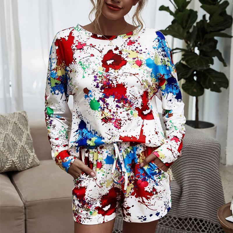 Due pezzi Sport Set Tie-dye maniche lunghe Pantaloncini Pantaloni Tuta Conjunto De Moletom Feminino Plus Size # 3