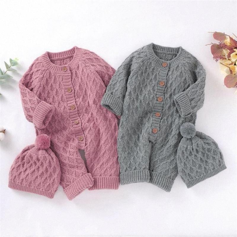 Neugeborenes Baby Body-Herbst-Winter gestrickter Baby-Kleidung Mädchen Kleidung für Jungen Overall-Baumwolle Kinder-Spielanzug mit Hut RDPC #