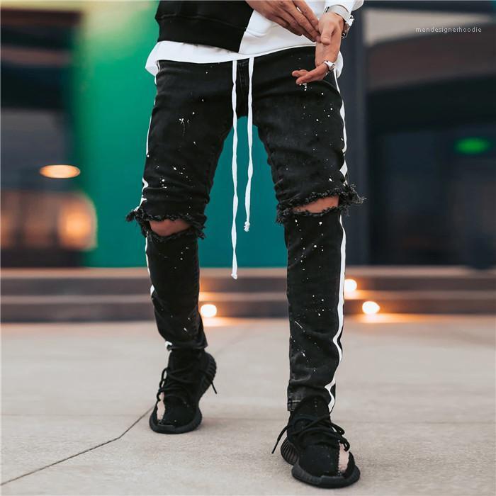 Waist Summer Male Pencil Pants With Drawstring Black Mens Jeans Hole Graffiti Skinny Side Stripe Mens Designer Jeans Middle