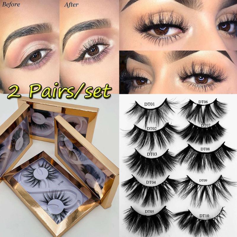 2020 NEW 2 пары 3D 25мм норка волос Ложные Ресницы пушистые Грязный Драматический Long Natural Handmade Поддельные Ресницы макияж глаз инструменты