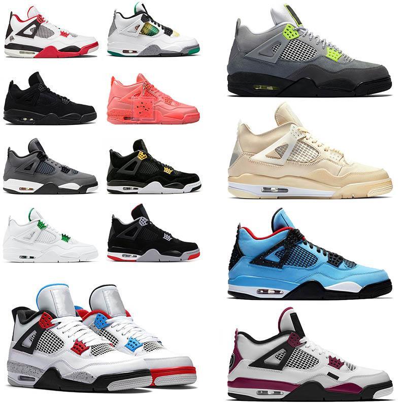 Nike Air Jordan Retro 4 Männer Basketballschuhe Travis x Sportschuh Houston Oilers 4s Kaktus Jack Pure Geld Raptors Zement Black Cat Bred Motosports Sneakers